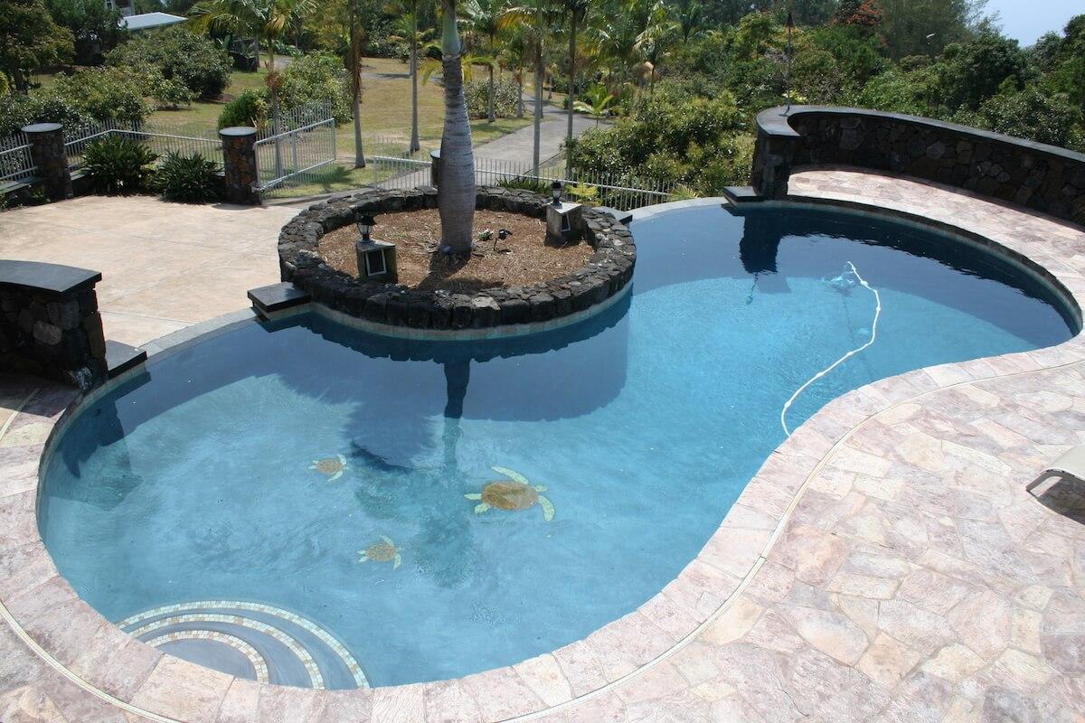 Infinity pool with sea turtle tile work - Big Island, Hawaii
